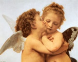 The First Kiss, c.1873 (detail) Art by William Adolphe Bouguereau