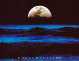 Contemplation Ocean and Moon Motivational Art Print Poster Posters