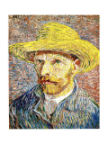 Self-Portrait with a Straw Hat, c.1888 Gicle-tryk af Vincent van Gogh