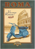 Roma Scooter Poster by Bruno Pozzo
