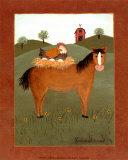Horse with Hen Poster af Valerie Wenk