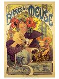 Retro bierreclame voor Bieres de la Meuse Print van Alphonse Mucha