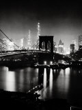 Night View of the Brooklyn Bridge Print by Andreas Feininger