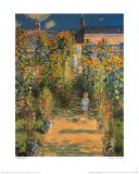 The Artist's Garden at Vetheuil Poster von Claude Monet