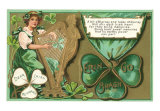 St. Patrick's Day, Poem, Girl Playing Harp, Art Print