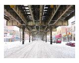 El Train during a NYC Blizzard Reproduction procédé giclée par New Yorkled