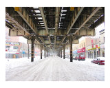 El Train during a NYC Blizzard Lámina giclée por New Yorkled