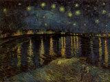 ローヌ河畔の星空(1888年) 高品質プリント : フィンセント・ファン・ゴッホ