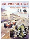 Reims F1 French Grand Prix, c.1960 Giclée-tryk