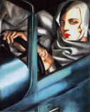 Autorretrato en el Bugatti verde Pósters por Tamara de Lempicka
