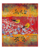 Bird Singing with Fragrant Flowers Giclee Print by Shelley Xie