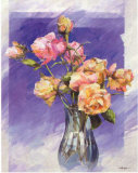 Roses with a Blue Vase Art by I. Kupper
