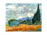 Champ de blé avec cyprès, vers 1889 Posters par Vincent van Gogh