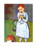 Femme au Pigeon Affiche par Pablo Picasso
