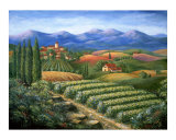Tuscan Vineyard and Village Giclee Print by Marilyn Bast Dunlap