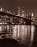 Night View of Brooklyn Bridge and Manhattan Skyline Posters by Christopher Bliss