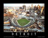 Detroit: primer partido por la noche en el estadio Comerica Park Pósters por Mike Smith