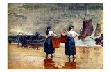 Fisherwomen at Tynemouth Beach Giclee Print by Winslow Homer