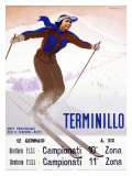 Terminillo, Women Snow and Ski Giclee Print by Giuseppe Riccobaldi