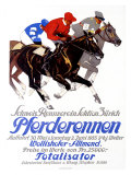 Pferderennen, Wollishofer-Allmend Giclee Print by Iwan E. Hugentobler