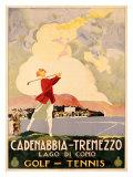 Cadenabbia to Tremezzo, Lago di Como, Golf and Tennis Reproduction procédé giclée