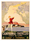 Cadenabbia to Tremezzo, Lago di Como, Golf and Tennis Giclee Print
