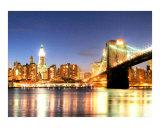 El puente de Brooklyn en la parte baja de Manhattan y el edificio Woolworth Lámina giclée por New Yorkled