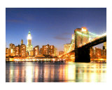 Lower Manhattan's Brooklyn Bridge and Woolworth Building Impressão giclée por New Yorkled