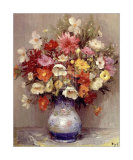 Dahlias dans Un Pot Bleu Prints by Marcel Dyf
