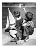 Two Boys with Sail Boat Giclee Print