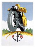 1925 Czech FN Motorcycle Poster Reproduction procédé giclée
