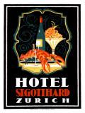 Hotel St. Gotthard, Zurich Giclee Print by Otto Baumberger