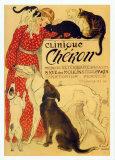 Vintage reclameposter dierenkliniek Cheron, ca. 1905 Schilderijen van Théophile Alexandre Steinlen