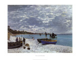 La plage a Sainte-Adresse Prints by Claude Monet