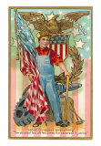 Labor Day Souvenir, 'Labor Conquers Everything...' Art Print
