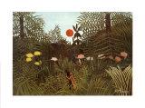 Urwaldlandschaft mit untergehender Sonne Kunstdrucke von Henri Rousseau