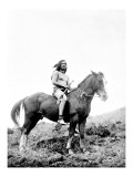Young Yakima on Horseback Giclee Print by Edward S. Curtis