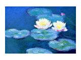 Ninfee, effetto della sera Stampa giclée di Claude Monet