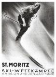 St. Moritz, Ski Giclee Print by Carl Moos