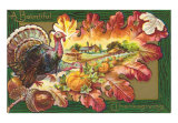 A Bountiful Thanksgiving, Turkey, Pumpkin, Autumn Leaves, Art Print