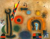 Libelle Mit Roten Flugeln Eine Schlange Jagend Poster von Joan Miró