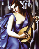 Femme a Guitare Art by Tamara de Lempicka