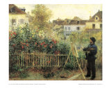 Monet Painting in His Garden at Argenteuil Poster by Pierre-Auguste Renoir
