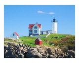Nubble Lighthouse in York Beach, Maine Gicléetryck av New Yorkled