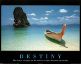 Destiny Boat on Beach Motivational Art Print Poster Posters