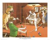 Jeu de billard entre chiens Affiches par Arthur Sarnoff