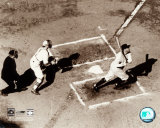 Babe Ruth - Homeplate action, sepia Photo