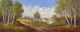Camino de abedules en Horni Rybniky Láminas por H. Buchner