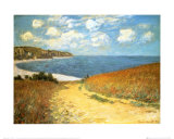 Cammino al mare tra campi di grano, a Pourville, 1882 Poster di Claude Monet
