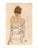 Zittende Vrouw op the Rug Poster par Egon Schiele